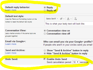 google send settings for replying to messages