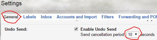 Gmail Labs Undo Function Settings